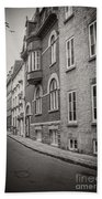 Black And White Old Style Photo Of Old Quebec City Hand Towel