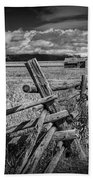 Black And White Photo Of A Wood Fence At The John Moulton Farm Bath Towel