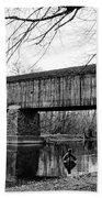 Black And White Schofield Ford Covered Bridge Bath Towel