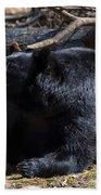 Black Bear Guarding Food Bath Towel