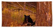 Black Bear Sticking Out Her Tongue  Bath Towel