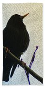 Black Bird Perch Bath Towel