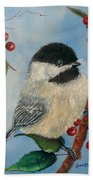 Black Capped Chickadee And Winterberries Bath Towel