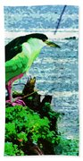 Black Crowned Green Night Heron Bath Towel