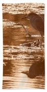 Black-crowned Night Heron Sunset Bath Towel
