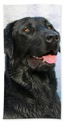 Black Labrador Retriever Dog Smile Bath Towel
