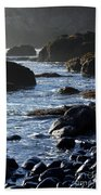 Black Rocks And Sea  Bath Towel