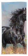 Black Stallion Hand Towel by David Stribbling