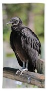 Black Vulture On The Boardwalk Bath Towel