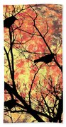 Blackbirds In A Tree Bath Towel