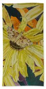 Blackeyed Susans And Butterfly Bath Towel