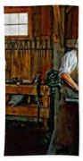 Blacksmith And Apprentice Impasto Bath Towel