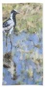 Blacksmith Lapwing Or Plover Vanellus Armatus Bath Towel