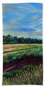 Blazing Sun On Farmland Hand Towel