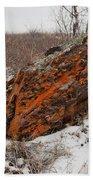 Bleak Winter Arctic Steppe Orange Lichens Rock Bath Towel
