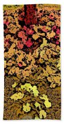 Blossoms And Tree In Yellow And Red Bath Towel
