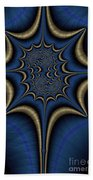 Blue And Gold Abstract Bath Towel
