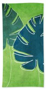 Blue And Green Palm Leaves Hand Towel by Linda Woods