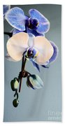 Blue And White Orchids Bath Towel