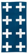 Blue And White Plus Sign Bath Towel