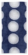 Blue And White Shibori Balls Bath Towel