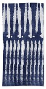 Blue And White Shibori Design Bath Towel by Linda Woods