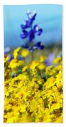 Blue And Yellow Wildflowers Bath Towel