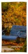 Blue Bench - Autumn - Deer Isle - Maine Bath Towel