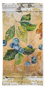 Blue Berries And Butterfly On Vintage Tin Bath Towel