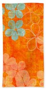 Blue Blossom On Orange Bath Towel