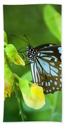 Blue Butterfly In The Green Garden Hand Towel