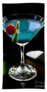 Blue Cocktail With Cherry And Lime Bath Towel