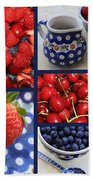 Blue Dishes And Fruit Collage Bath Towel