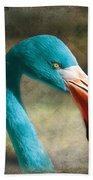 Blue Flamingo Bath Towel