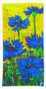 Blue Flowers - Wild Cornflowers In Sunlight  Bath Towel