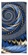 Blue Gold Spiral Abstract Bath Towel