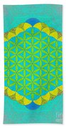 Blue Green Yellow Flower Of Life Bath Towel