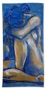 Blue Heart - Female Nude Bath Towel