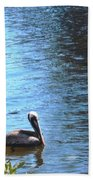 Blue Heron And Pelicans Bath Towel
