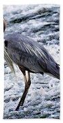 Blue Heron Fishing V3 Bath Towel