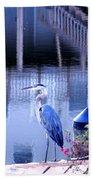 Blue Heron Reflections Bath Towel