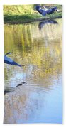 Blue Herons On Golden Pond Bath Towel