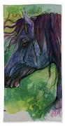 Blue Horse With Red Mane Bath Towel