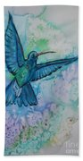 Blue Hummingbird In Flight Bath Towel