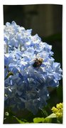 Blue Hydrangea With Bumblebee Bath Towel