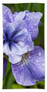 Blue Iris Flower Raindrops Garden Virginia Bath Towel