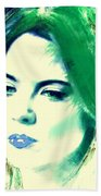 Blue Lips On Green Bath Towel