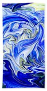 Blue Mophead Hydrangea Abstract Bath Towel