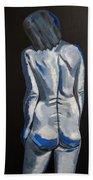 Blue Nude Self Portrait Hand Towel