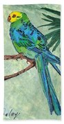 Blue Parakeet Bath Towel